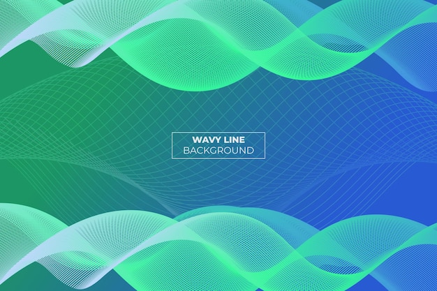 Wavy lane gradient abstract background verde e azul
