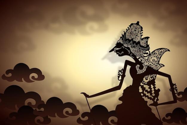 Wayang kulit silhueta abstrata do personagem
