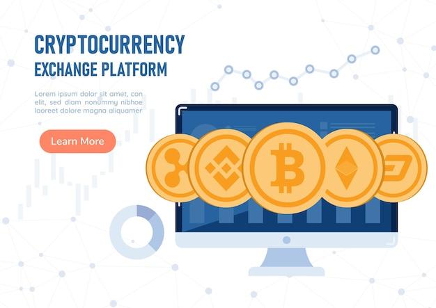 Web banner criptomoeda moeda no monitor do pc. plataforma de troca de criptomoedas e conceito de tecnologia blockchain.
