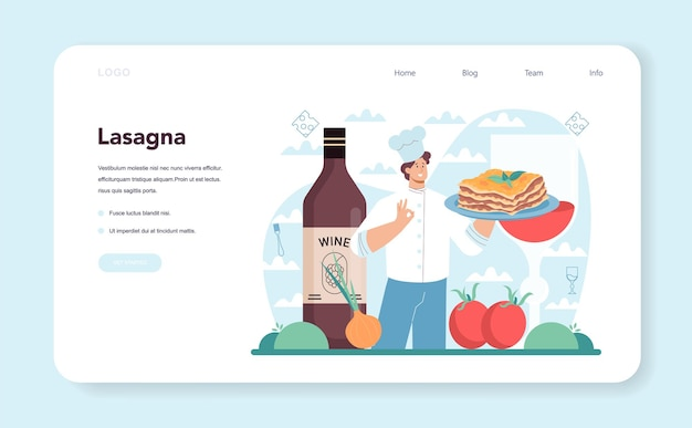 Web banner de lasanha saborosa ou página de destino cozinha italiana deliciosa