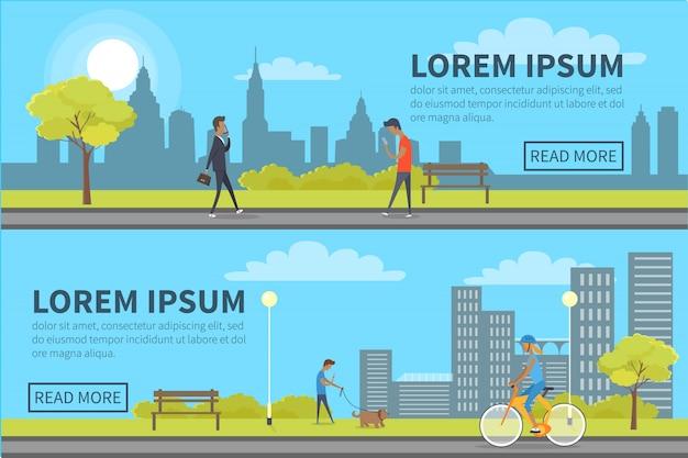 Web banner de pessoas gastando tempo no parque com edifícios