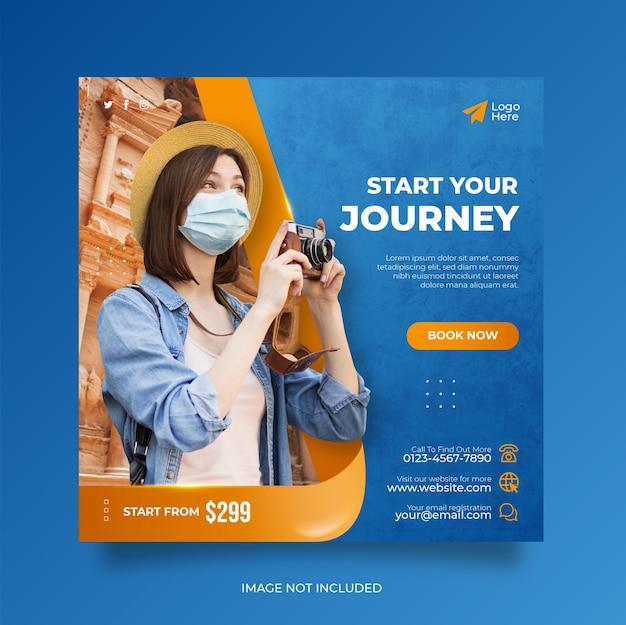Web banner de postagem de mídia social para viagens, férias, férias