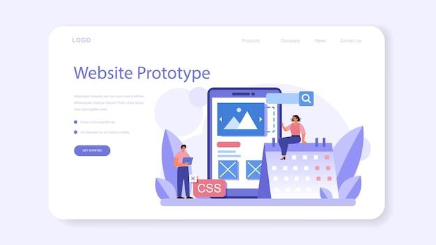 Web banner de prototipagem de site ou página de destino