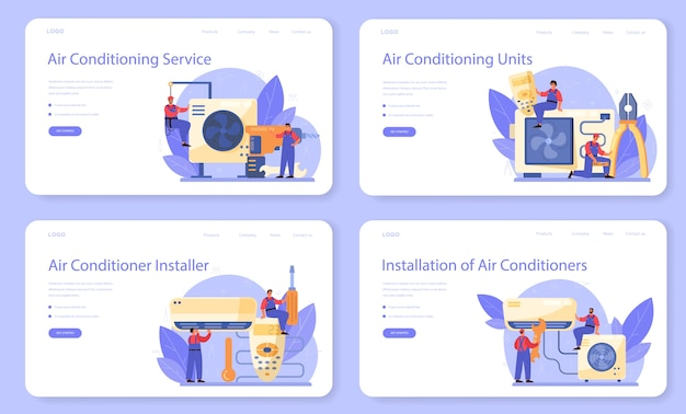 Web banner do serviço de reparação e instalação de ar condicionado