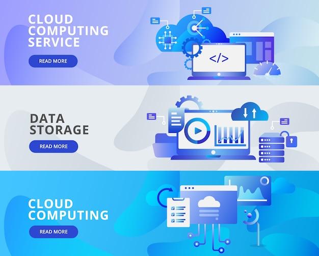 Web banner ilustração de cloud computing, armazenamento de dados