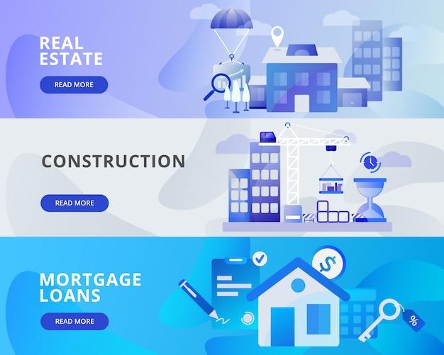 Web banner ilustração de imóveis, construção, empréstimos hipotecários