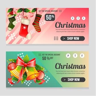 Web banner modelo de natal com sino colorido