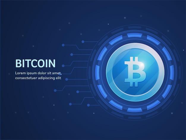 Web banner ou design de modelo com fundo azul de placa de circuito de bitcoin.