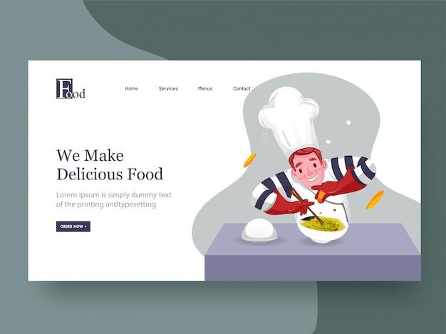 Web banner ou página inicial, personagem de chef apresentando prato com aspersão para nós fazemos comida deliciosa.