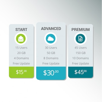 Web boxes hosting plans vector eps10