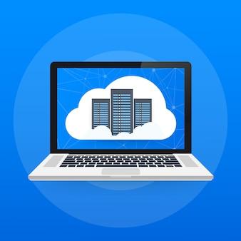 Web conceito de hospedagem com design de computação em nuvem.