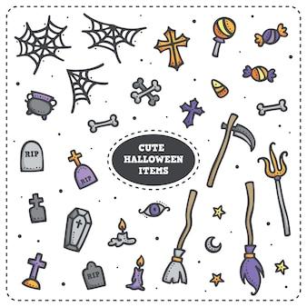 Web de aranha bonito do dia das bruxas, doces, pedra grave, foice etc.