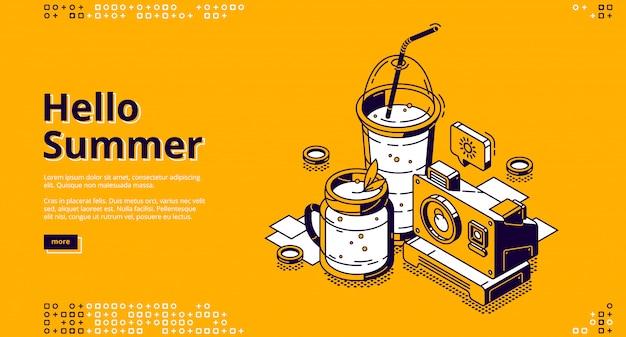 Web de aterrissagem isométrica de coquetéis de milk-shake