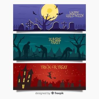 Web de banner de halloween assustador