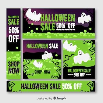 Web de banner de halloween em tons de verde com fantasmas