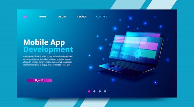 Web de banner móvel de desenvolvimento de aplicativo.