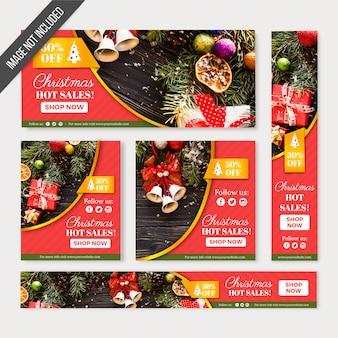 Web de banners de vendas de natal