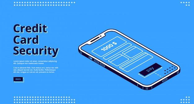 Web design com segurança de cartão de crédito com smartphone
