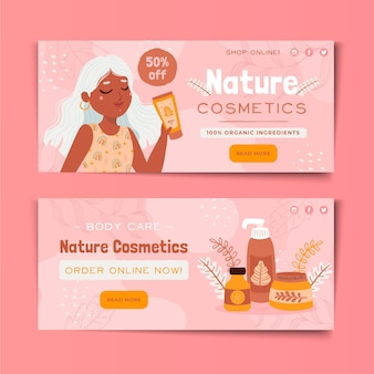 Web design de banners de cosméticos naturais