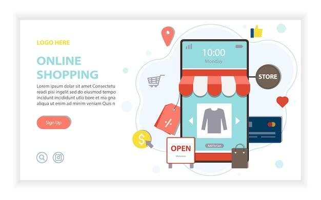 Web design de compras online, loja online