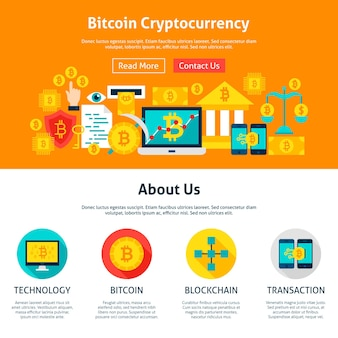 Web design de criptomoeda bitcoin. ilustração em vetor estilo simples para web banner e página inicial.