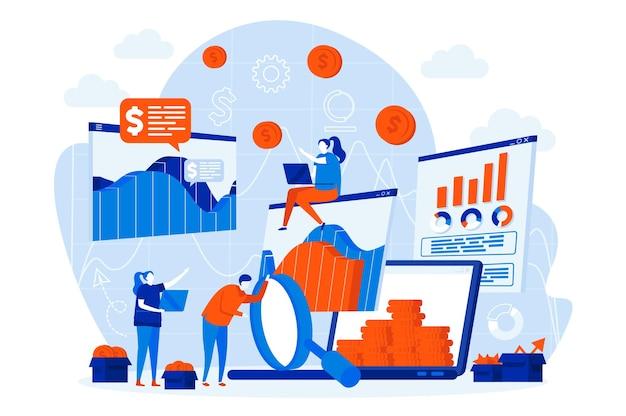 Web design de estatísticas de negócios com personagens de pessoas
