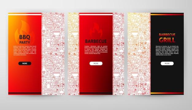 Web design de folheto de churrasco. ilustração em vetor de banner de contorno.