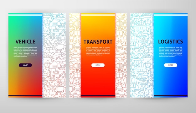 Web design de folheto de transporte. ilustração em vetor de modelo de contorno.