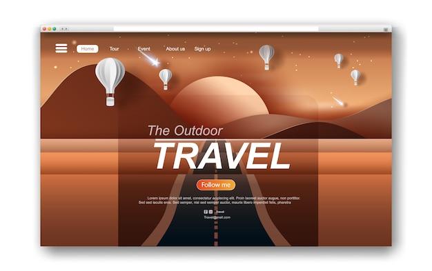 Web design de interface paisagem com estrada