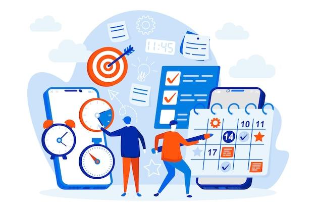 Web design de organizador móvel com personagens de pessoas