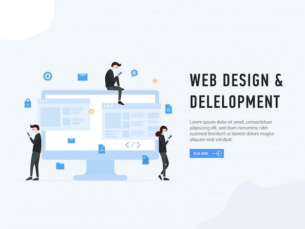 Web design e pouso de desenvolvimento