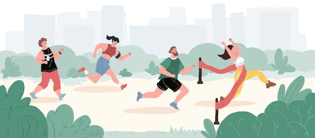 Web design online - cena de vida esportiva, estilo de vida saudável, conceito social