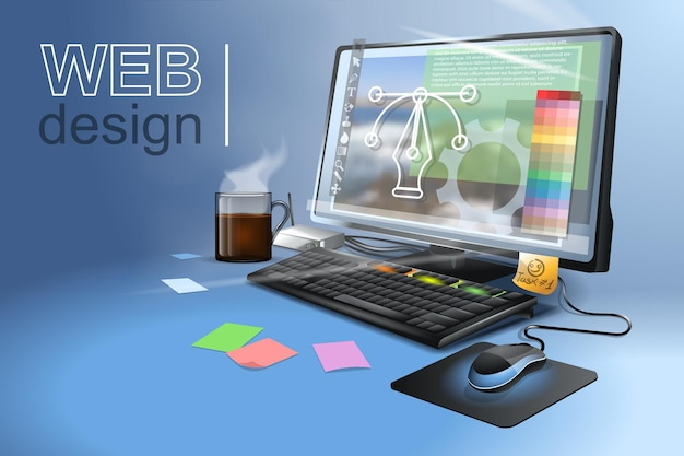 Web design para sites e aplicativos móveis, registro de conta online.