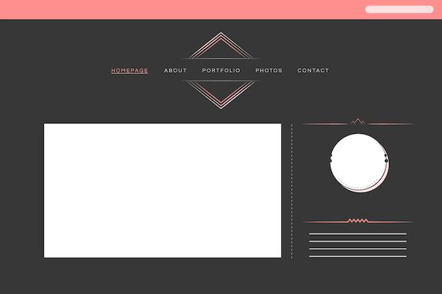 Web design para vetor de layout de portfólio