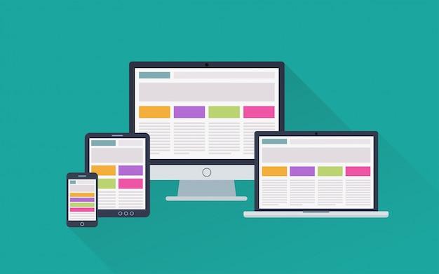 Web design responsivo adaptável em diferentes dispositivos eletrônicos