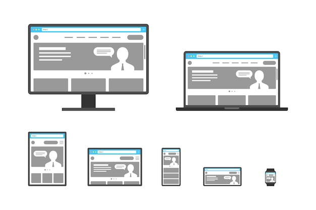 Web design responsivo adaptável site aberto em dispositivos computador pc monitor tablet smartphone