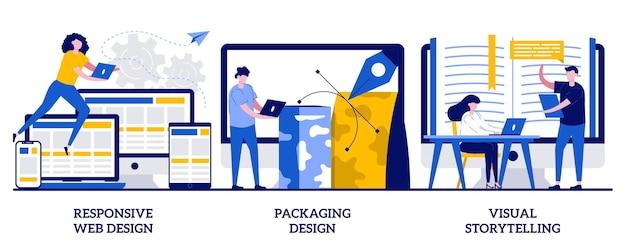 Web design responsivo, design de embalagens, conceito de narrativa visual com pessoas minúsculas. desenvolvimento de plataforma cruzada, desenvolvimento de marca, conjunto de marketing de conteúdo.