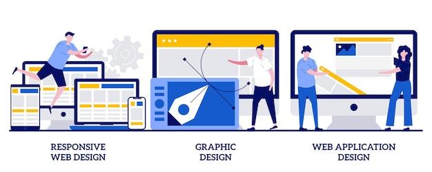 Web design responsivo, design gráfico, conceito de design de aplicativo da web com pessoas minúsculas. conjunto de programação adaptável. desenvolvimento de vários dispositivos, metáfora da engenharia de software.