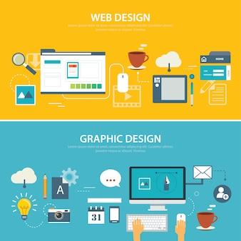 Web e design gráfico de banner plana