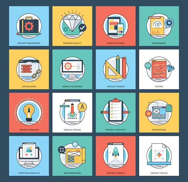 Web e ícones de vetor de desenvolvimento móvel