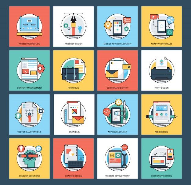 Web e ícones lisos do desenvolvimento móvel