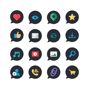Web ícones on-line para blog e redes sociais