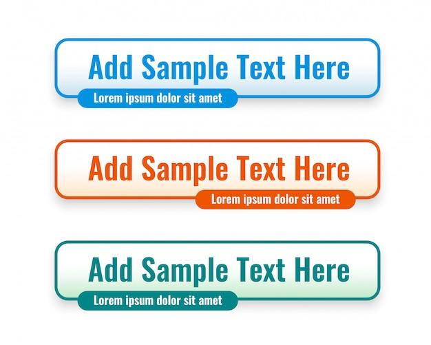 Web inferior terceiros banners definidos em três cores