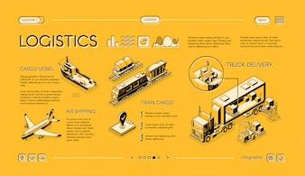 Web isométrica logística de negócios banner, swipe modelo de página de destino com entrega de caminhão