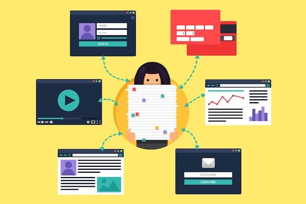 Web life of working woman de vídeo, blog, redes sociais, compras online e e-mail.