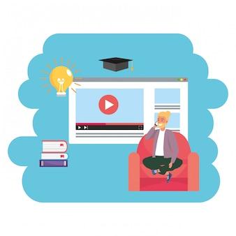 Web page millennial do estudante da educação em linha