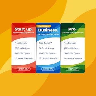 Web pricelist hosting preço website design