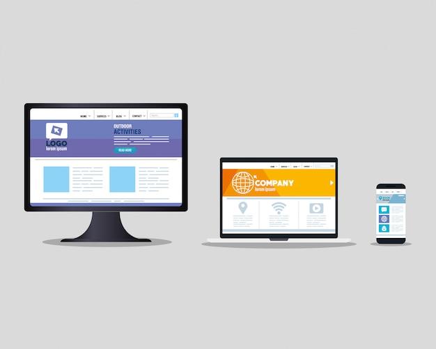 Web responsiva de maquete, desenvolvimento de site de conceito em computador, laptop e smartphone