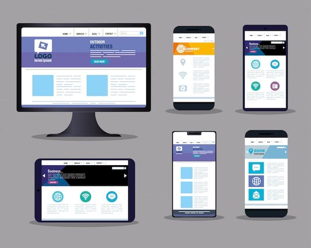Web responsiva de maquete, desenvolvimento de site de conceito, em dispositivos eletrônicos