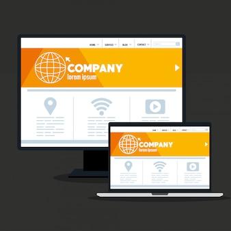 Web responsiva, desenvolvimento de site de conceito em desktop e laptop